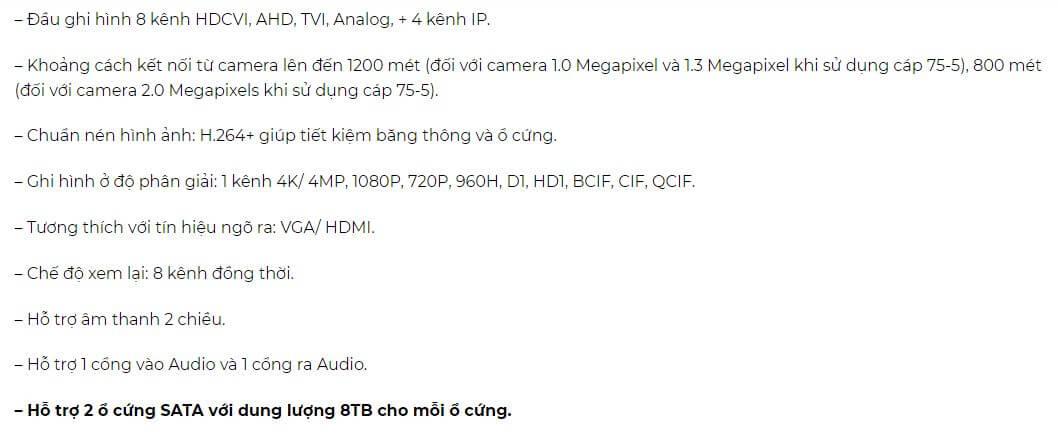 Đầu ghi hình HDCVI 8 kênh KBVISION KX-2K8208D5-1